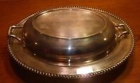 VTG Modern Silver Company Silver On Copper Serving Dish Covered Art Deco