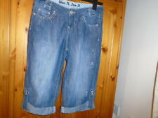 Mid blue good quality worn look jeans with turn ups, TRUE 2U, size 10, NEW