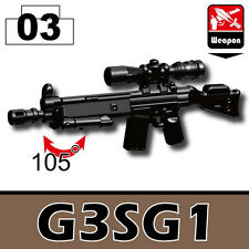 G3SG1 (W81) Special Forces sniper rifle compatible with toy brick minifigures