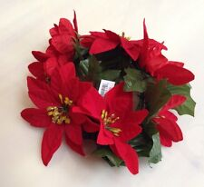 "Red Microfiber Poinsettia 6.5"" Candle Ring Pillar Taper Christmas Home Decor"