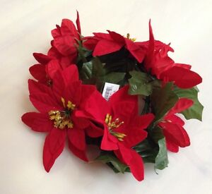 """New Red Microfiber Poinsettia Candle 6.5"""" Ring Pillar Taper Christmas Home US"""