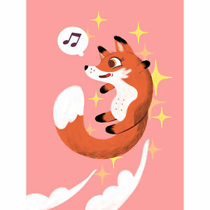 Fox Jumping Music Wall Premium Wall Art Canvas Print 18X24 In