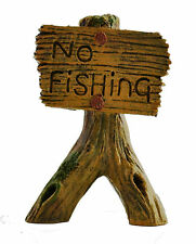 "Wooden ""No Fishing"" Signpost Novelty Aquarium Decoration Goldfish Bowl Ornament"