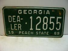 1969 Georgia License Plate   DEALER - 12855   PEACH STATE     Vintage  as5161