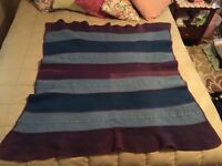 Vintage Blue/Light Blue/Purple Wool Blanket