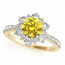 1.32 Ct VS2 Yellow Canary Diamond Beautiful Engagement Ring Halo 14k Yellow Gold