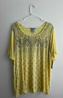 Catherines Yellow Embellished Short Sleeve Knit Top Plus Size 0X New NWT