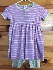 Hanna Andersson Dress Shorts 2 Piece Purple w/ Yellow Contrast Girls Sz 110 5-6X