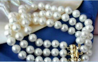 """3 ROW AAA 9-10MM SOUTH SEA WHITE PEARL BRACELET 7.5-8""""14K GOLD CLASP"""
