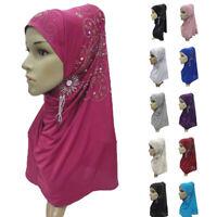 Muslim Women Hijab Islamic Rhinestone Long Scarf Shawls Headwear Hats Caps Amira