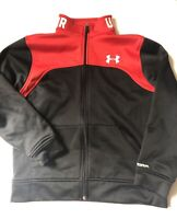 UNDER ARMOUR SWEATSHIRT LARGE YLG STORM ZIP-up LONGSLEEVE top Fall Red Black