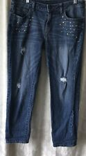 Jenifer Lopez Distressed. Studded Straight Leg Jeans SZ 8 Med Wash Embellished