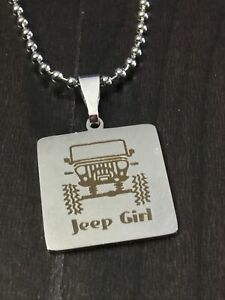 Jeep Girl Silver Stainless  Charm Necklace