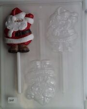 SANTA WAVING LOLLIPOP CLEAR PLASTIC CHOCOLATE CANDY MOLD C058