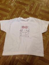 Hello Kitty Blanco Chicas Manga Corta Camiseta Talla 3 - 4 años Buen Estado