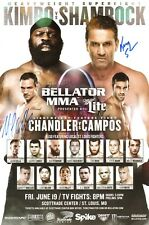 Ken Shamrock & Michael Chandler Signed 11x17 Bellator 138 Kimbo Slice Poster UFC
