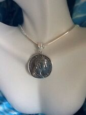 """Silver Roman Greek Coin Pendant With 20"""" Silver Snake  Necklace"""