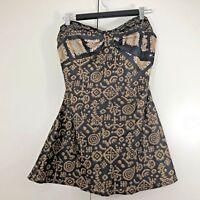 Ishka Womens Top Size M/L 12 14 Boho Silk Black Brown Print Strapless Summer