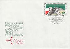 DDR FDC solo tag lettera 1988 muro commemorativo Como MER. 3196