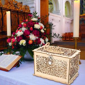 Wedding Card Box Wooden Wedding Gift Rustic Money Box W/ Lock Wedding