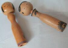 More details for pair vintage japanese kokeshi dolls - osaka 1960s signed