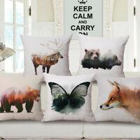 Soft Home Cotton Linen Car Bed Sofa Waist Cushion Throw Pillow Case Square Cover