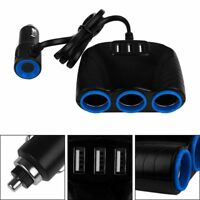 3 Way Multi Car Cigarette Lighter Socket Splitter Dual USB Charger Adapter
