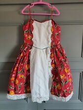 Retro Vintage Girls Summer Dress Spanish floral wedding pageant