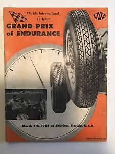 1954 SEBRING 12 HOUR GRAND PRIX OF ENDURANCE RACE PROGRAM