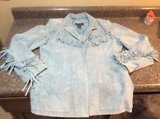 Denim & Co Fringed Leather Button Coat Western Jacket M Tassels