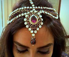 Handmade Purple & Gold Stone Headpiece Jewelry Matha Patti