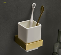 Brushed  gold Brass Wall Mounted Toothbrush Holder with Single Ceramic Cups