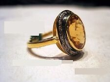 Vintage Reproductions Sterling silver Ring Natural Citrine & Real Diamond Gold