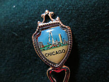 Vintage Chicago Souvenir Spoon  Map of Illinois in bowl . 3 1/2 INCHES LONG