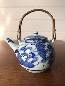 Vintage Japanese Blue And White Teapot Signed To Base Hand Painted With Infuser