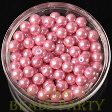 New 30pcs 8mm Round Glass Pearl Loose Spacer Beads Jewelry Making Deep Pink