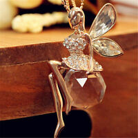 Crystal Shiny Fairy Angel Wings Pendant Necklace Sweater Chain Girls Gift