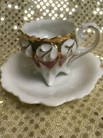 Vintage Hand Painted Demitasse Cup and Saucer. Cup is Unique Painting