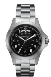 New Hamilton Khaki Field King Stainless Steel Black Dial Men's Watch H64451133