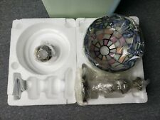 PartyLite P7790 Hydrangea Tealight Lamp Stained Glass New In Box
