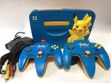 Nintendo 64 Pikachu Blue Yellow Console Japan JP N64 w/Controller 2  z3040