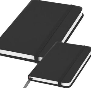 A5 A6 Notebook Black Lined Hardback Journal 160 Pages (80 Sheets) 8mm feint