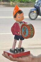 Vintage Wind Up Clown/Joker Playing Drum Litho Tin Toy, Japan?