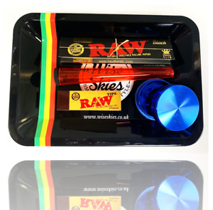 Rolling Tray Gift Set - Raw Black Limited Edition Rolling Paper & Metal Grinder