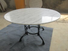 LARGE Round White Marble Top Dining Table 135cm diameter - Cast Iron Base seat 8