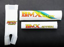Old School Retro 80s BMX Bike 3 Piece Handlebar Frame Crash Pad Set White
