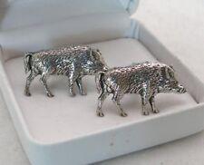Wild Boar Cufflinks in Fine English Pewter, Gift Boxed