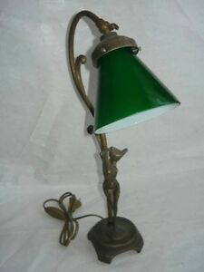 Table Lamp Office Desk Brass Glass Green