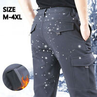 New Men Winter Fleece-Lined Waterproof Outdoor Ski Pants Windproof Trousers Warm