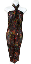 Brown Multicolor Floral Print Sarong Pareo Scarf Wrap Swimsuit Beach Cover 81